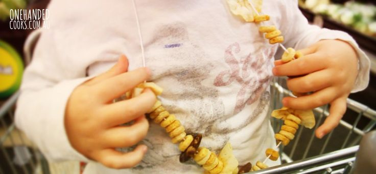 The edible necklace is a stroke of pure genius. A little length of string, with some edible 'beads' that keeps a toddler occupied for long-ish periods of time #onehandedcooks #ediblenecklace