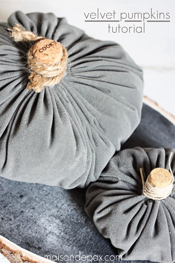 Make your own velvet pumpkins in mere minutes with this easy tutorial. These DIY velvet pumpkins are the perfect addition to any fall decor.