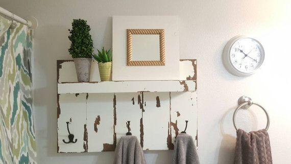 Badkamer handdoek rek, modder kamer organisatie, portiek Shelf, rustieke Coat…