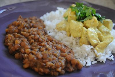 British Indian Ocean Territory (Chagos): Serrage Poulet with brown lentils