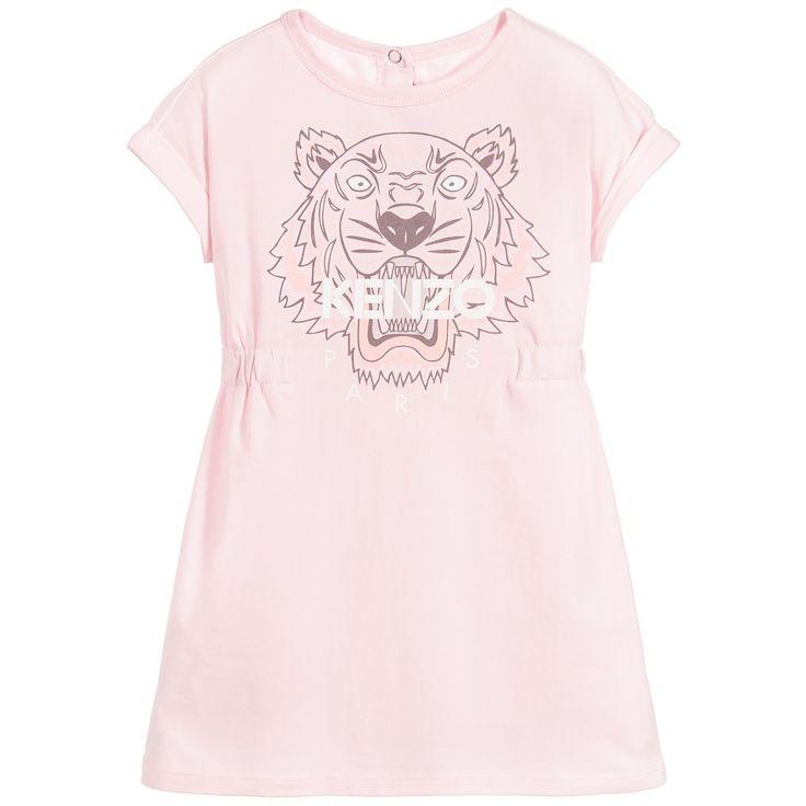 Kenzo Girls Pale Pink Cotton 'Tiger' Dress at Childrensalon.com
