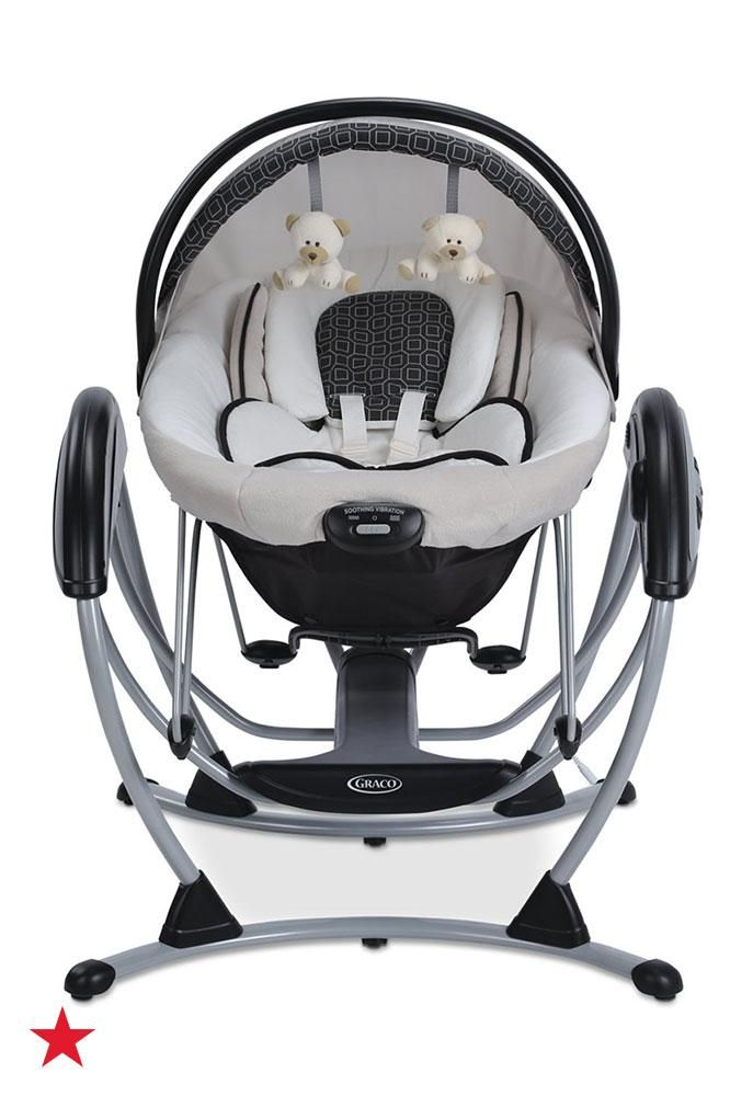 It's playtime for baby! The Graco Baby Premier Gliding Swing lets your little one swing and bounce with plush toys and fun music. Click to shop even more baby essentials at Macy's.