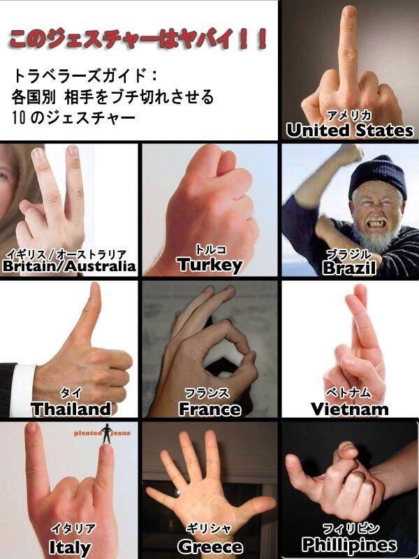 あごひげ海賊団 : 海外でこの指のサインをすると相手がキレるらしい