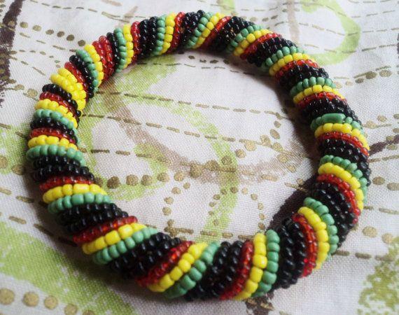 Rasta Colors Beaded Round Masai Bracelet Small to by DoorsToAfrica, $9.50