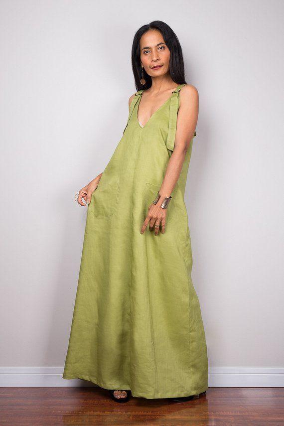 b555564360fb Sleeveless green linen halter top maxi dress with pockets. Handmade Summer  holiday dress with plung