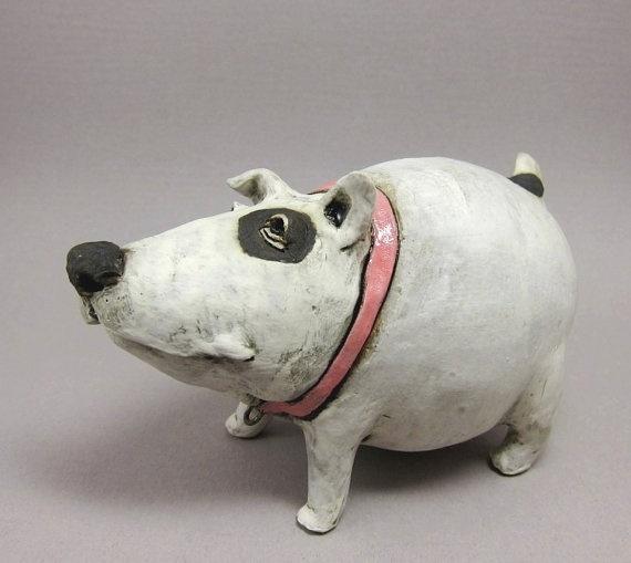 Shake That Booty Bella   Dog Sculpture in Stoneware by elukka
