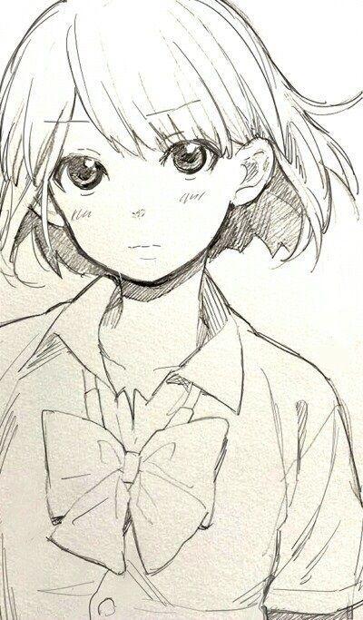Картинки аниме девушки с короткими волосами для срисовки