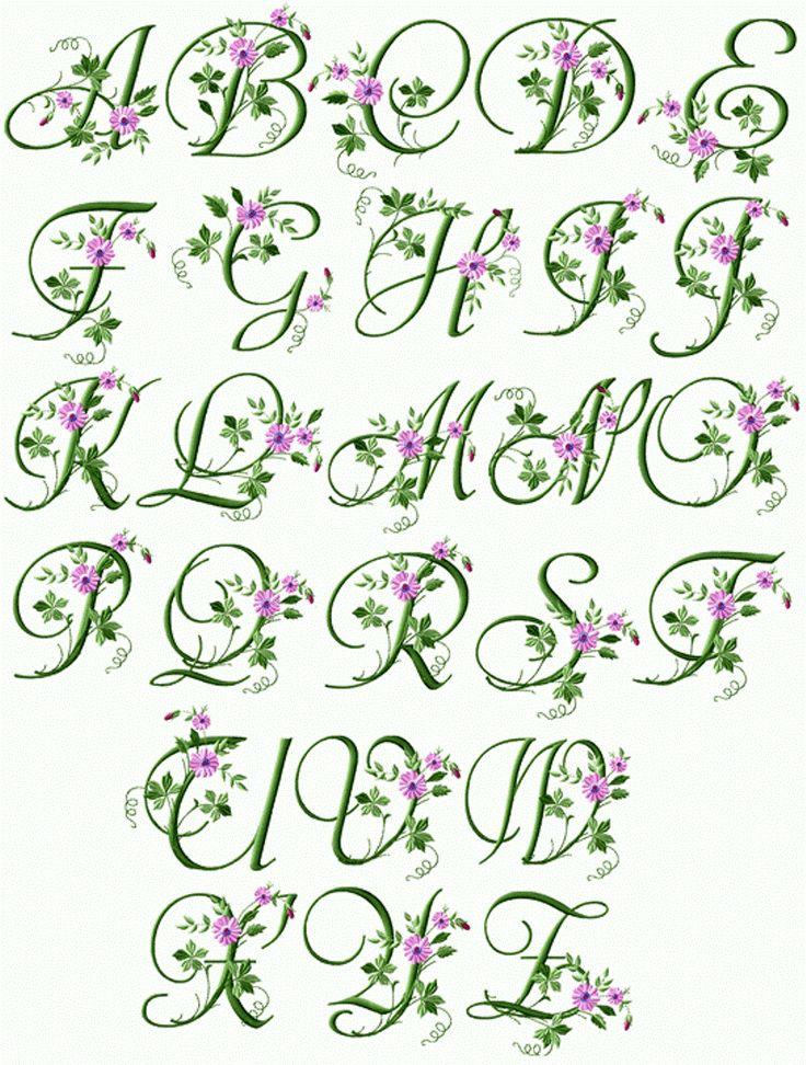 Iniziali cifre alfabeto ricamo classicofiori foglie semplici