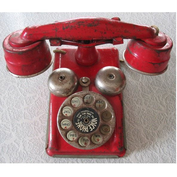 1930's / 1950's  RED Metal TELEPHONE --- Visual Found Object for Altered Art. $29.95, via Etsy.