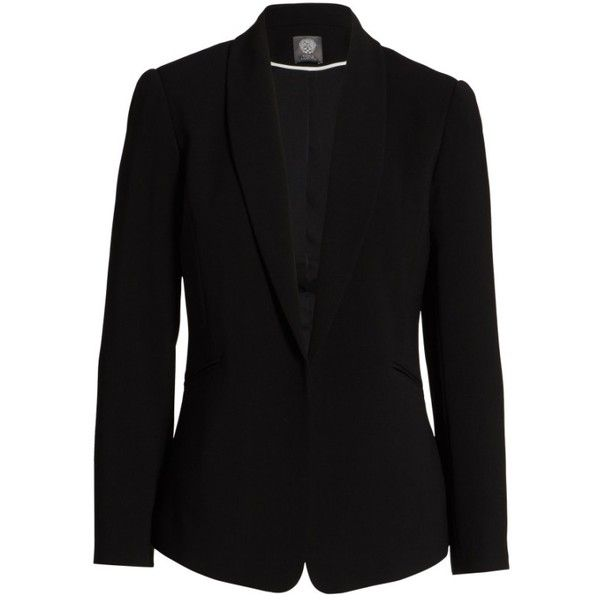 Women's Vince Camuto Texture Base Blazer ($99) ❤ liked on Polyvore featuring outerwear, jackets, blazers, petite, rich black, tailored jacket, shawl collar blazer, petite blazer jackets, woven jacket and shawl collar jacket