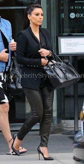 Kim Kardashian wore the J Brand Super Skinny Leather Legging in Black while leaving her hotel in New York City on Friday (April 27, 2012)