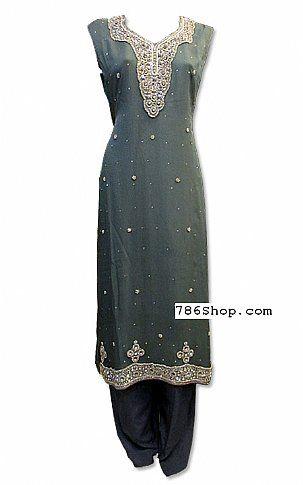 Dark Grey Crinkle Chiffon Suit | Buy Taiba Boutique Pakistani Dresses and Clothing online in USA, UK
