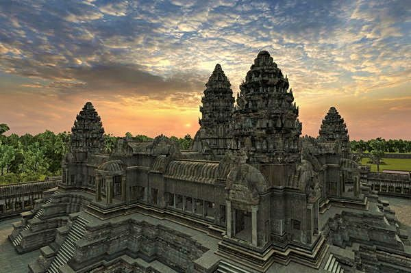 Angkor Wat is in Cambodia rediscovered 100 years ago.  I thought it was one of the seven wonders of the modern world.  Fabulous