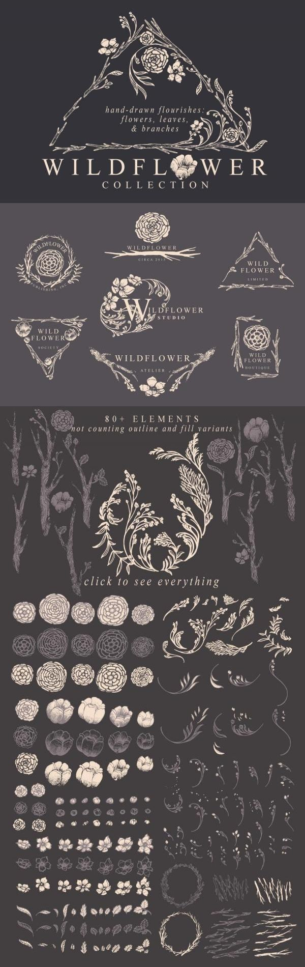 Hand-drawn floral flourishes: flowers, leaves, and branches. Wildflowers in a fairytale forest. Romantic lineart with fine detail and graceful curves, reminiscent of old-fashioned storybook pictures and Art Nouveau period illustrations. Bohemian logo templates included. Perfect for wedding invitations, perfume branding, and garden-themed wallpaper. Check it out on Creative Market!