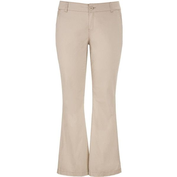 maurices Plus Size - Chino Pant In Khaki ($44) ❤ liked on Polyvore featuring pants, khaki, plus size, womens plus pants, plus size chino pants, womens plus size khaki pants, zip pants and zipper pants