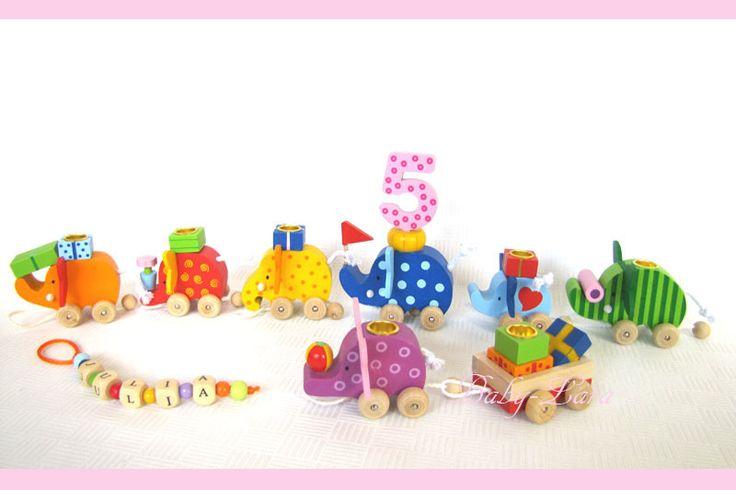 Dekoration - Geburtstagszug Elefanten - ein Designerstück von Baby-Lara bei DaWanda