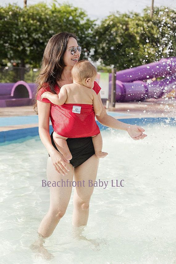 Beachfront Baby Wrap Carrier- water babywearing at the beach, pool, water park or in the shower- TROPICAL PUNCH Red on Etsy, 30,53 €