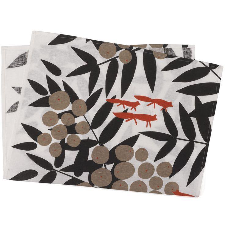 red fox tea towel main image