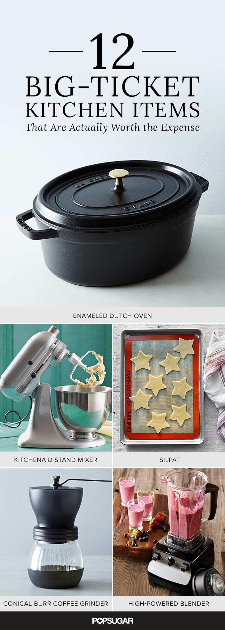 In a dream world, money would grow on trees and every piece of equipment in your kitchen could be top-notch, but that isn't reality. The trick is knowing where to allocate your budget instead of frittering away funds on less-important pieces. These 12 items are all worth considering investing in the next time your budget allows for an upgrade; consider it the ultimate (practical) kitchen-equipment wish list.