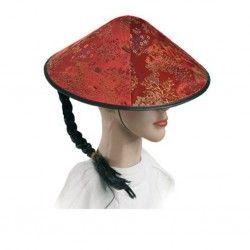 Sombrero Chino con Coleta en Rojo. Tu tienda de disfraces online te envía en 24 horas.