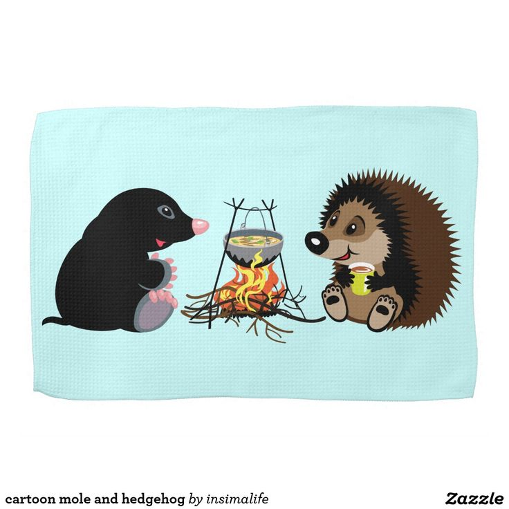 cartoon mole and hedgehog towel