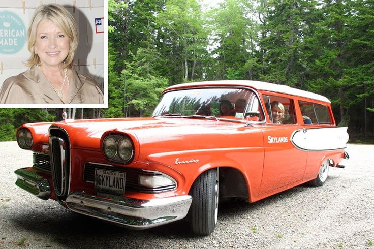 """""""I have a pink-and-white two-door 1958 Edsel station wagon,"""" she said. """"And I keep it in Maine at my Edsel Ford house."""" (Yes, Martha Stewart confirmed that her Maine getaway was previously owned by Edsel Ford, the son of Ford founder Henry Ford.) """"My daughter gave the car to me as a joke,"""" she related. """"But I love it. We drive it to town, and I wonder why people are looking at me. It's a great car with a push-button transmission, well before its time."""""""