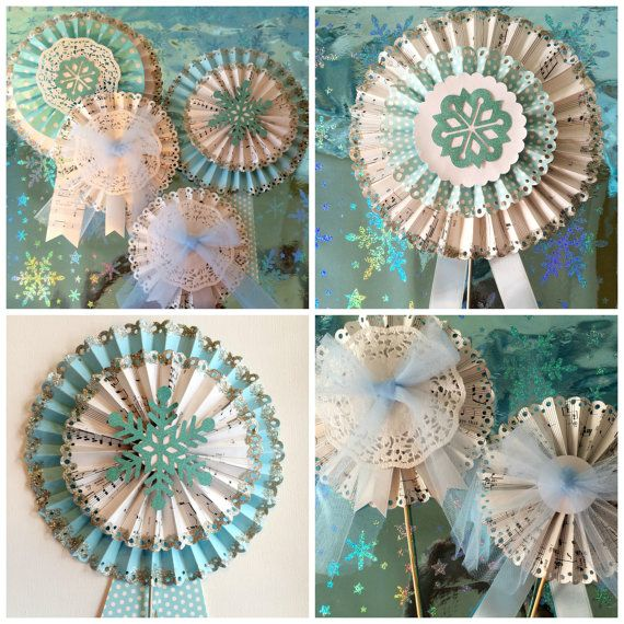 Frozen Decorations, Frozen Inspired Paper Pinwheels, Set of 4 Rosettes for Frozen themed party, Handmade,  Perfect Frozen Party Decoration