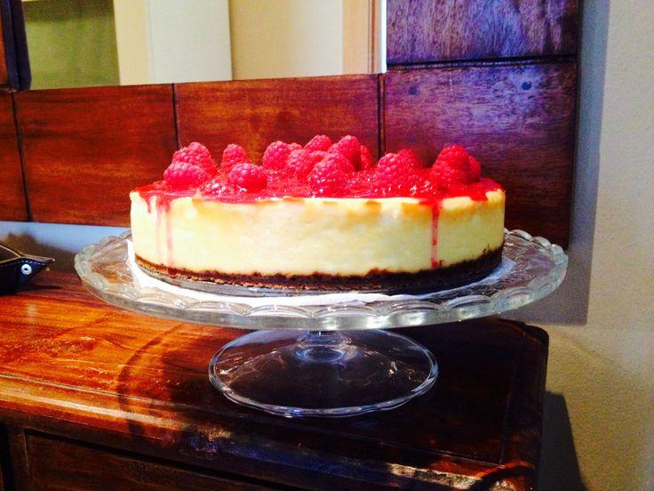 Cheesecake con frambuesas para el abuelo