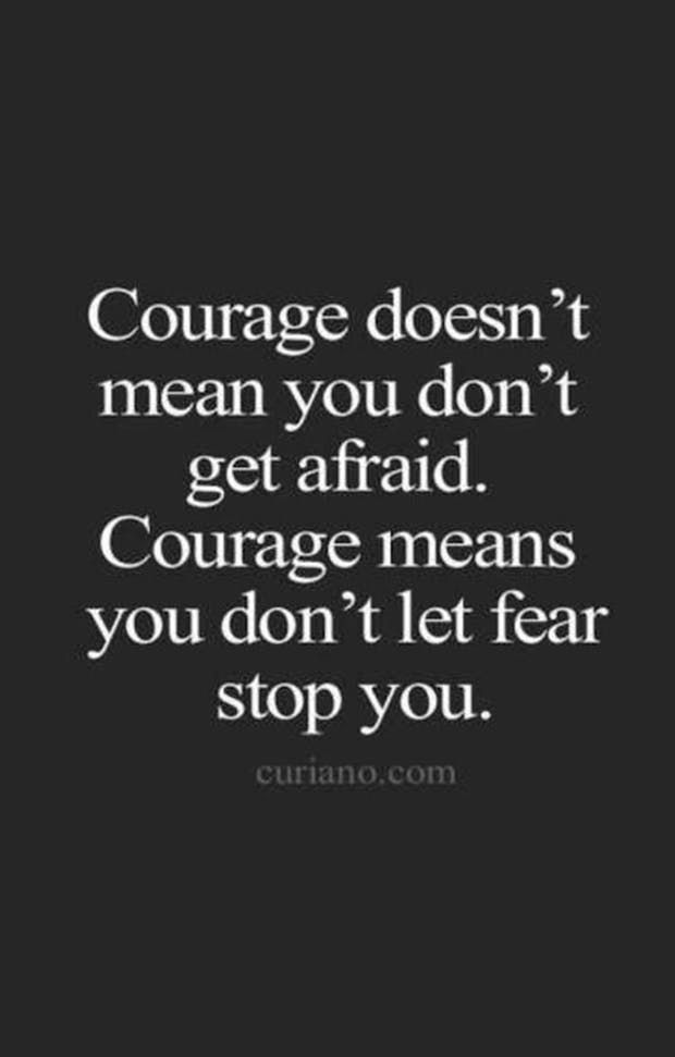 """""""Courage doesn't mean you don't get afraid. Courage means you don't let fear stop you."""" — Anonymous"""