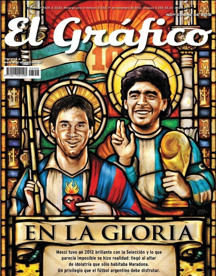 Portada de Nov ´12 de la Revista El Grafico de Argentina - Maradona comparte su puesto de # 1 con Messi