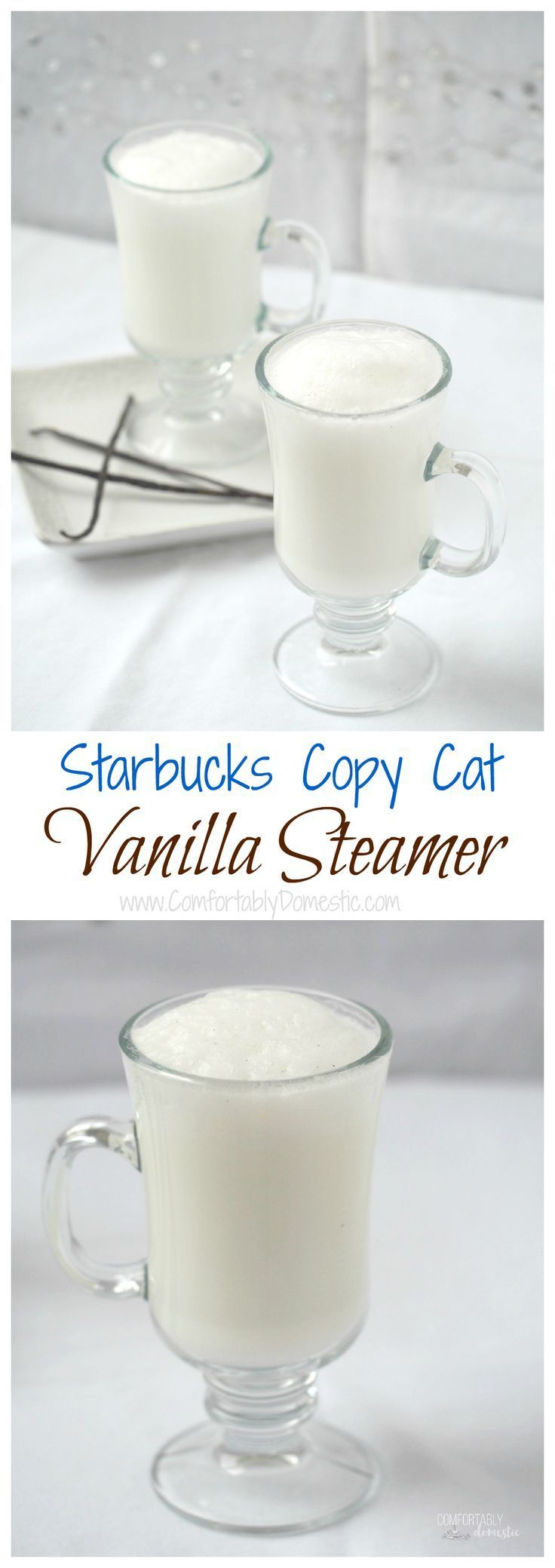 A vanilla steamer combines homemade vanilla bean syrup with steamy milk, imparting a whisper of comfort in every sip. A Starbucks Copycat recipe!