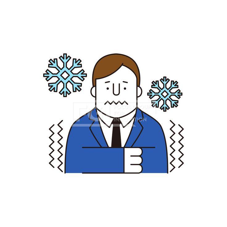 ILL161, 프리진, 일러스트, 생활, 사람, ILL161, 캐릭터아이콘, 캐릭터, 인물, 손짓, 상반신, 손가락, 핸드모션, 동작, 남자, 남성, 청년, 날씨, 떨림, 추위, 얼음, 눈, 넥타이,#유토이미지