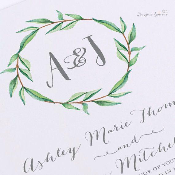 Printable Wedding Invitation Watercolor Monogram by HeSawSparks