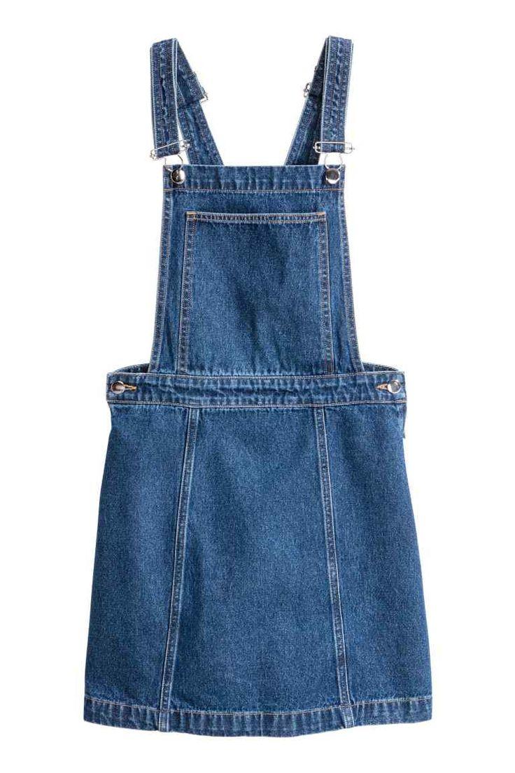 H&M Denim salopette rok Donker denim blauw spijkerstof skirt jeans blue