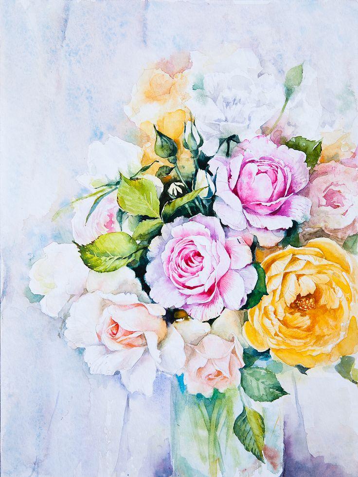 watercolor paintings of flowers - 649×864