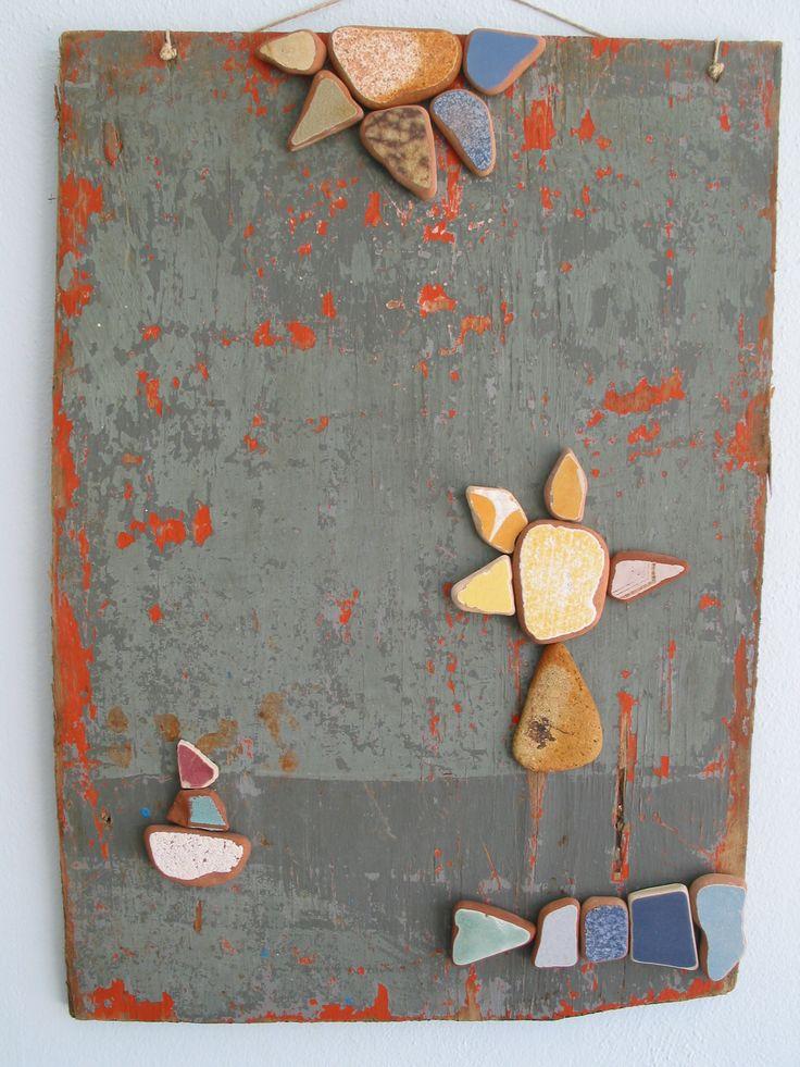Omaggio a Mirò legno e ceramica di scarto