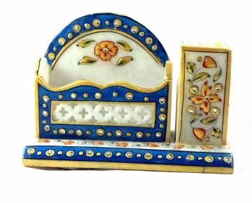 Sturdy and beautiful, this marble pen stand with card holder can change the look of your office. Display your business cards in the card holder and make a royal impression on your clients. It is made of marble.