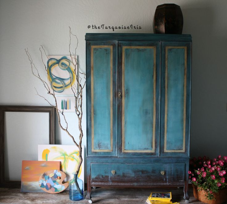 Teal Wardrobe with Gold Highlights Hand Painted Armoire Antique Turquoise by The Turquoise Iris on Etsy