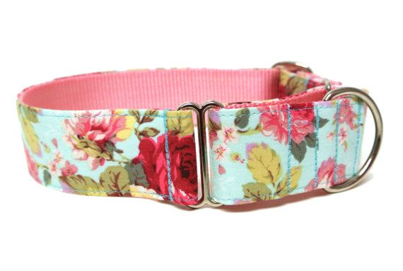 Floral Dog Collar 1.5 Martingale Dog Collar by Wagologie on Etsy