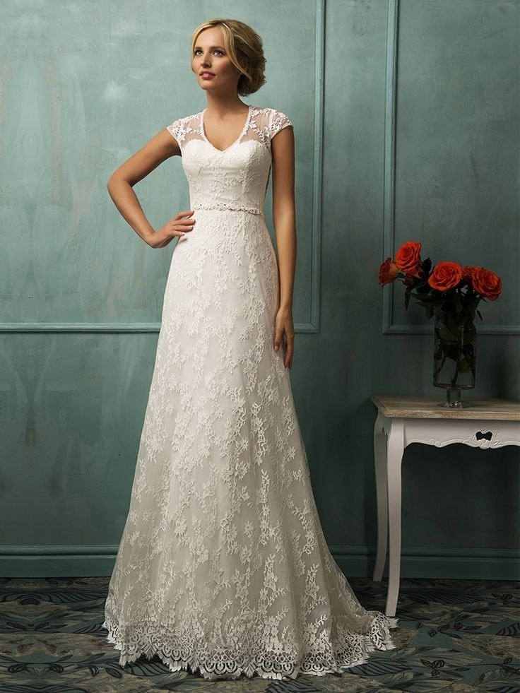 Short Sleeves V-neckline Lace Wedding Dress with Illusion Back