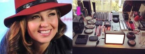 Thalia Utiliza el maquillaje con aerografo en su visita a Mexico - Alejandro Anzaldua Make up trainer maquillaje con aerógrafo