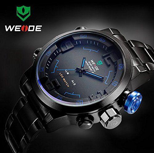 Weide Men's Military Watches Men Luxury Brand Full Steel Watch Sports Diver Quartz Multi-function LED Display Wristwatch, Reloj De Hombre, Relojes Para Hombre, Reloj De Caballero, Relogio Masculino