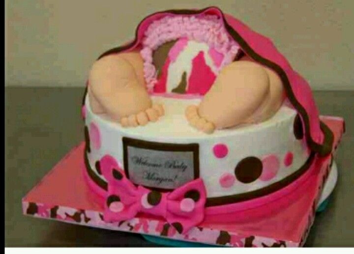 pink camo baby shower cakes