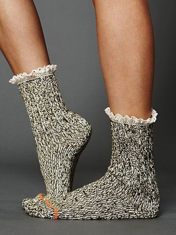 Have I already mentioned how much I love socks? And how can you not swoon over the crochet up top? Free People Heathered Highland Boot Sock at Free People Clothing Boutique