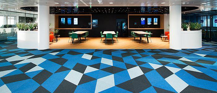 Zátěžové kobercové dílce Fletco, kancelářské prostory. / Contract carpet tiles Fletco, office areas.  http://www.bocapraha.cz/cs/aktualita/66/kobercove-dilce-fletco-v-novych-atraktivnich-tvarech/