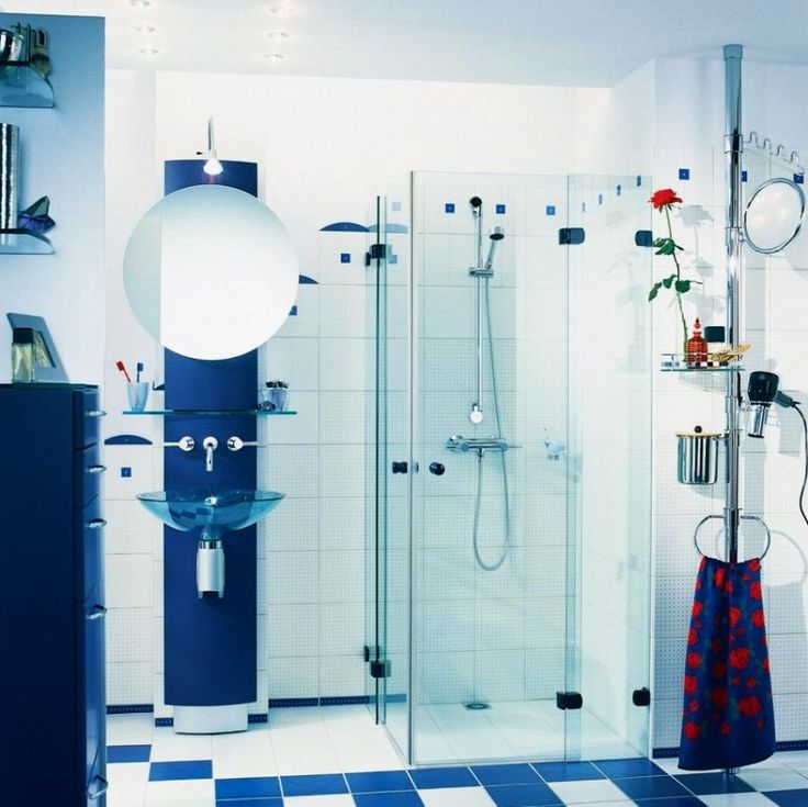 10 awesome bathroom color ideas with blue white bathroom and glass shower box and round wall mirror design