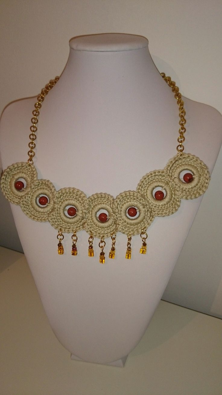 crochet necklace with semiprecious beads