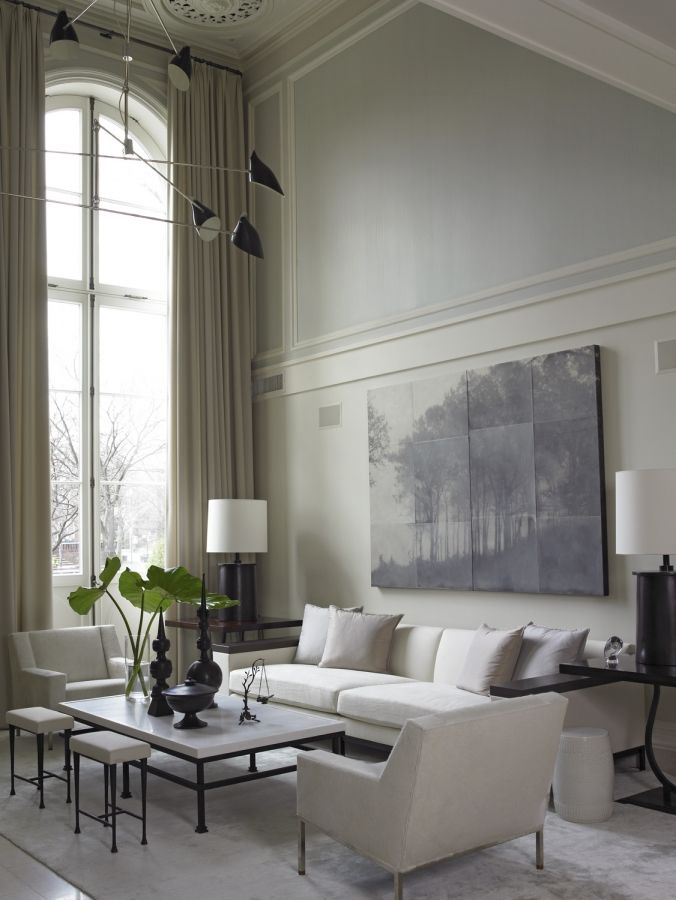 High ceilings, big art, beautifully detailed window and modern pieces.