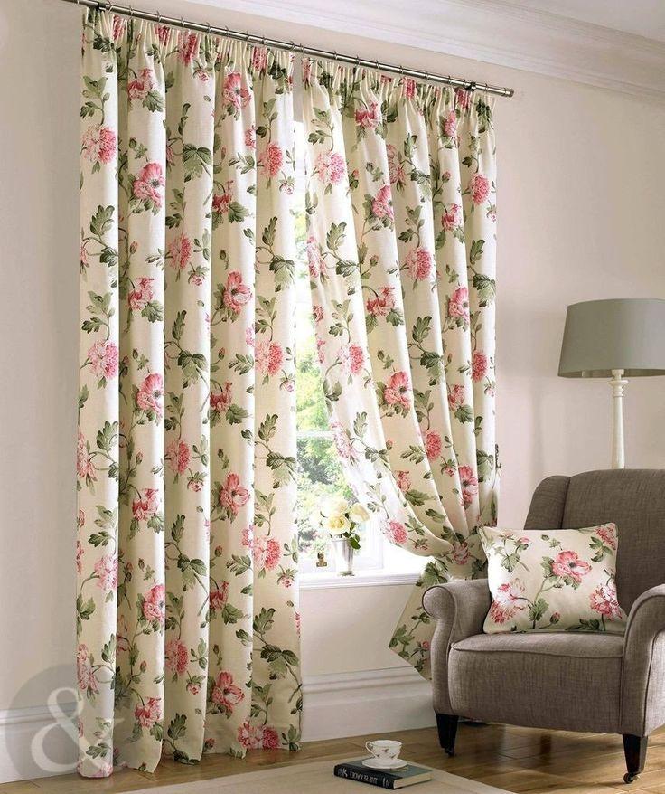 Just contempo rideaux plis plats doubl s motif fleurs Rideaux style cottage