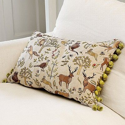 Woodland Cushion Redolent Of Century Tapestries Woven In Flanders And Depicting Scenes Linen Mix Embroidered With Animals